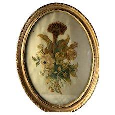 Early 18th Century Silk on Silk Flower Needlework