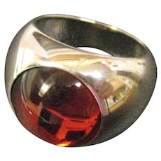 Lalique Sterling Silver Red Crystal Cabochon Ring