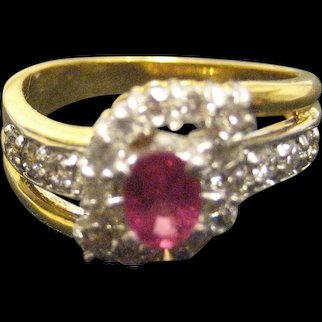 Modernist 18K Yellow Gold Ruby Diamond Ring