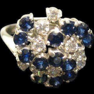 14K White Gold Sapphire Diamond Swirl Ring