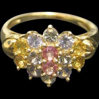 14K White Gold Multi Color Tourmaline Ring