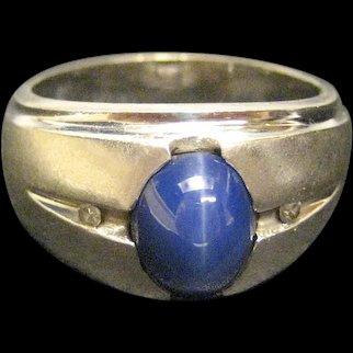 Vintage 14K White Gold Star Sapphire Ring