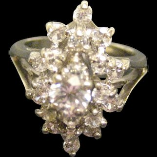 Vintage 14K Gold White Sapphire Cluster Ring