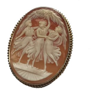 9ct Gold Carved Cameo Brooch 'The Three Graces'
