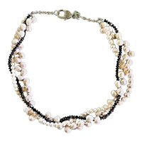 Freshwater Pearl Necklace with Dark Purple and Hematite