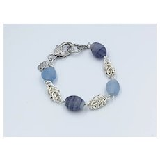 Sliver Plated Byzantine Chainmaille with Frosted Blue Glass Beads