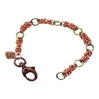 Green Niobium & Copper Chainmaille Byzantine Bracelet