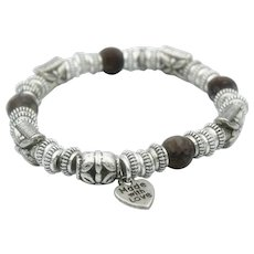 African Coffee Opal and Base Metal Stretch Bracelet