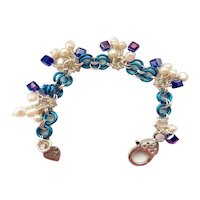 Silver Plated & Blue Niobium Chainmaille Bracelet with Freshwater Pearls and Blue Swarovski Crystals
