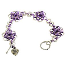 Silver Plated and Purple Nionium Japanese Flower Chainmaille Bracelet