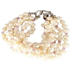 Freshwater Pearls with Pink Swarovski Crystals Bridal Collection Bracelet