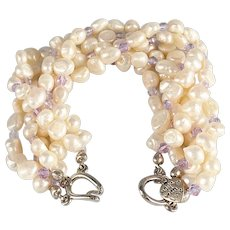 Freshwater Pearls with Purple Swarovski Crystals Bridal Collection Bracelet