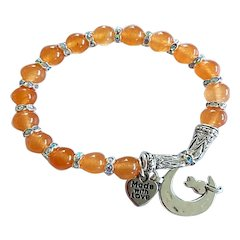Orange Jade with Faux Rhinestones and Charm Stretch Bracelet