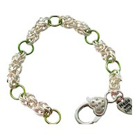 Green Colored Niobium and Silver Plated Chainmaille Bracelet
