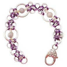 Silver Plated & Purple Niobium Chainmaille Bracelet with Amethyst Jade