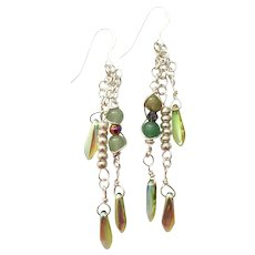 Green Jade with Swarovski Tear Drop Crystals and Glass Seed Bead Earrings