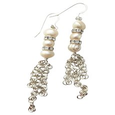 Freshwater Pearls With Clear Glass And Silver Plated Chainmaille Earrings