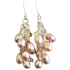 Hand Wrapped Lilac Color Freshwater Pearls and Light Purple Swarovski Crystal Earrings