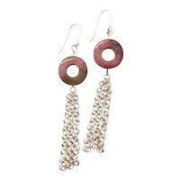 Rhodonite Rondelle and Silver Plated Chainmaille Earrings