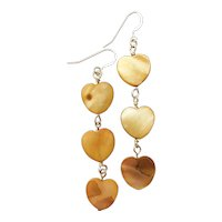 Tea Dyed Mother of Pearl Heart Earrings