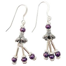 Purple Seed Bead with Silver Plated Bugle Beads