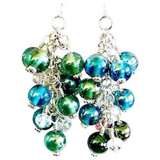 Silver Plated Hand Wrapped Blue Green Glass Bead Earrings