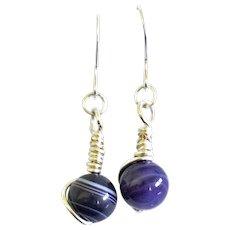 Silver Artisan Wire Wrapped Purple Agate Earrings