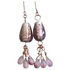 Copper Wire Wrapped with Purple Lampworks and Frosted Glass