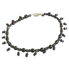 Died Freshwater Pearls with Hematite Beads Necklace
