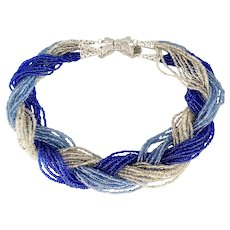 Multi Strand Blue, Gray and Clear Seed Beads with Butterfly Clasp