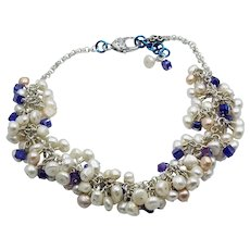 Freshwater Pearls with Dark Blue Swarovski Crystals on a Silver Plated Chainmaille Necklace