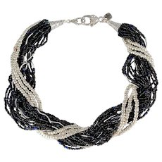 Multi Strand Seed Bead Necklace with Silver Plated Tubes