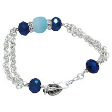 Silver Plated Chainmaille with Dark Blue Glass Beads and Light Frosted Blue Bead