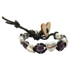 Purple Agate with Base Metal Puff Heart Cuff Bracelet
