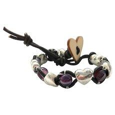 Purple Agate with Base Metal Puff Heart Cuff Bracelet