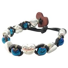 Electric Blue Beads with Base Metal Puff Heart Cuff Bracelet