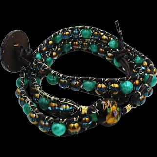Blue & Gold Leather Wrap Bracelet
