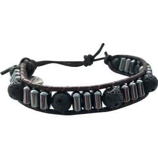 Lava Rock & Hematite Leather Cuff Bracelet