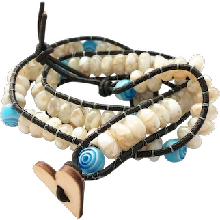 Leather Wrapped Mother of Pearl Bracelet