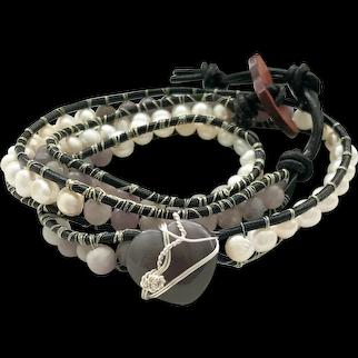 Freshwater Pearl & Jade Wrap Bracelet