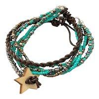 Seed Bead Boho Style Leather Wrapped Bracelet