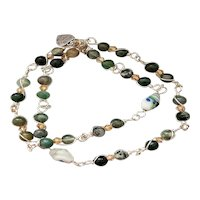 Wire Wrapped Green Moss Agate & Antique Glass with Swarovski Crystals Wrap Bracelet