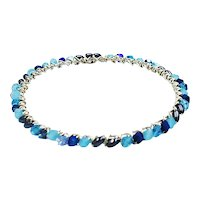 Wire wrapped bangles with Blue Swarovski Crystals