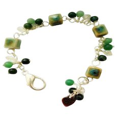 Wire Wrapped Green Porcelain and Green Moss Agate Bracelet