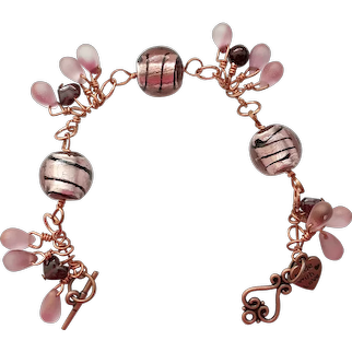 Purple Frosted Glass Beads & Copper Wire Wrap Bracelet