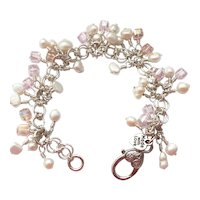 Wire Wrapped Freshwater Pearl & Pink Swarovski Crystal Bracelet