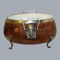 Art Deco Egyptian Revival Wooden Bowl Pharaoh Mask Handles  Ca 1920's