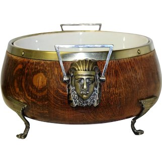 Art Deco Egyptian Revival  Wooden Bowl Centerpiece with Pharaoh Mask Handles  Ca 1920's