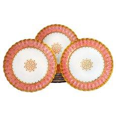 11 Antique Copeland  Dinner Plates Raised Gold Fleur De Lis