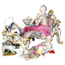 Meissen Group of ''Lover Discovered J.J. Kaendler  Ca 19th C